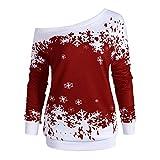 Riou Weihnachtskleid Pulloverkleid Damen Herbst Langarm Schneeflock Lang Gedruck Knielang Hoodie Sweatshirt Blouse Kleider (2XL, Wein B)