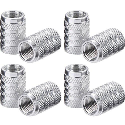 Tapas de Válvulas de Neumático de Coche Tapones de Válvulas de Rueda Tapa de Neumático a Prueba de Polvo, 8 Piezas (Plateado)