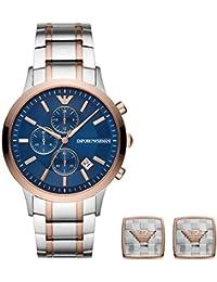 6489acb19c70 Emporio Armani - Reloj para Hombre y Gemelos en Acero Inoxidable en Dos  Tonos AR80025