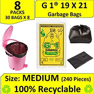G 1 Garbage Bags Medium Size Black Color 19 X 21 Inch 240 Pieces