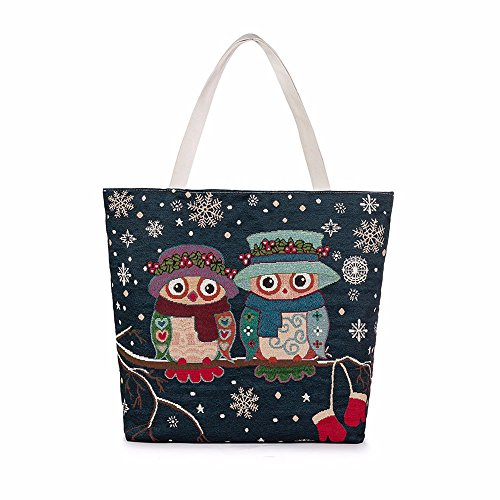 Longra Owl Stampato Canvas Tote casuale Donne Shopping Bag F