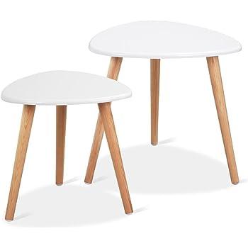 Perfekt Yaheetech 2 X Beistelltisch Couchtisch Kaffeetisch Sofatisch Satztisch  Wohnzimmertisch Aus Holz Retro Design Runder Tisch, Weißer Tischplatte