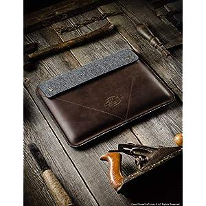 2019 MacBook Pro 13/15 / 16 Zoll Holzbrauner Etui/Hülle, 100% Wollfilz 2019 MacBook Air 13 Zoll Gehäuse, handgefertigt, einzigartig, Vintage echte Crazy Horse Leder-Laptoptasche, Crazy Horse Craft