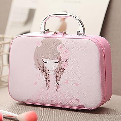 Le nouveau sac de maquillage cosmétique main fort grande capacité d'admission des cosmétiques de la taille de paquet de voyage portable, un petit paquet de vanité,rose fille