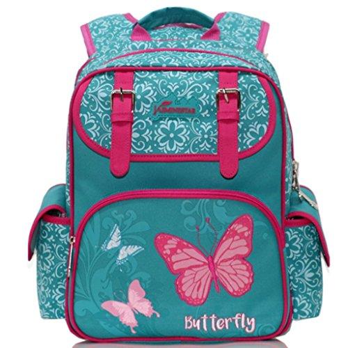 Kinder Backpack Girl, Rucksack für Grundschule Mädchen Teen Rucksäcke wasserdichte Kinderrucksäcke, personalisierte Patten Umhängetasche für Reisen Wandern - Butterfly