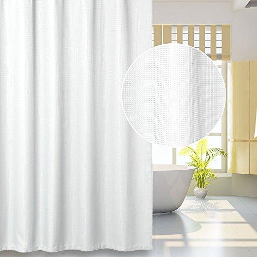 LinTimes Duschvorhang aus Stoff, Groß / Wasserdicht / Mehltau Resistent Waffel Badezimmer Vorhang-182x182cm, weiß, 100% Polyester