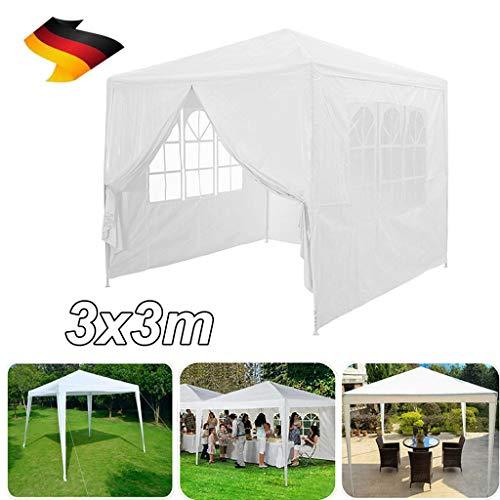 Yiyai Pavillon 3x3 m mit 4 Seitenwänden, Metall Gestell, PE Plane, Fenster, UV-Schutz 50+ Sonnenschutz Gartenpavillon 120 g/m² Wasserdicht Partyzelt Camping BBQ Zelt- Weiß