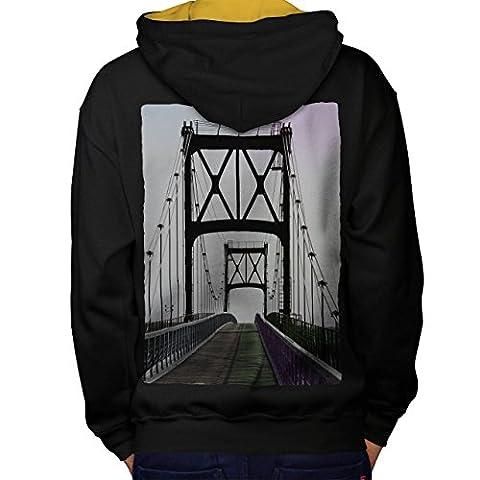 Pont Urbain Route Mode rivière Structure Homme S Sweat à capuche contrasté le dos | Wellcoda