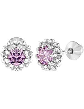 In Season Jewelry Baby Mädchen - Schraubverschluss Ohrringe Blume 925 Sterling Silber Rosa CZ Zirkonia 6mm