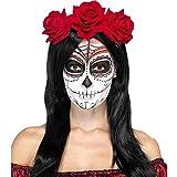 Smiffy's - Tag der Toten Stirnband mit Rosen, Kostüm, rot