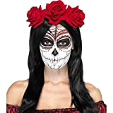 Smiffys Damen Tag der Toten Rosen Haarreif, One Size, Rot, 27744