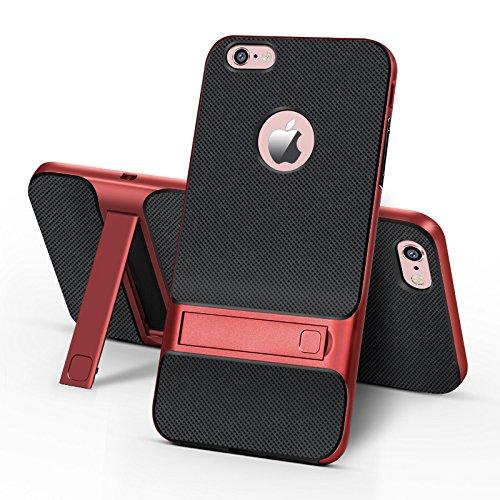 BCIT iPhone 6 Plus Hülle - Hybrid kratzfeste stoßdämpfende TPU +PC Bumper Frame Dual Layer Tasche Schutzhülle mit Ständer für iPhone 6 Plus - Rot Rot