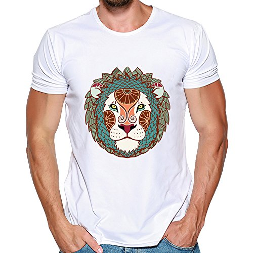 Camisetas Hombre Lanskirt Blusa con Estampado de PatróN de Leon para Hombres BáSicas Camisas Slim Fit Sudaderas Moda Diario Tops de Verano Manga Corta Polos Shirt Casual 3XL