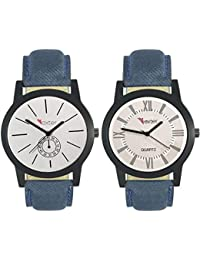 Talgo 2017 New Collection Foxter (combo Of 2) White Round Shapped Dial Leather Strap Fashion Wrist Watch For Boys... - B0763V9RTY