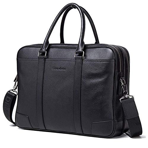 BISON DENIM Herren Leder Aktenkoffer Laptoptasche Schulter Messenger Bag 14 zoll Businesstachen 2 Hauptfach -