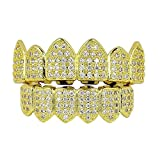 MagiDeal 18K Dorati Placcati Zircon Hip Hop Denti Flasi Caps Lower Bottom - Oro, Come descritto
