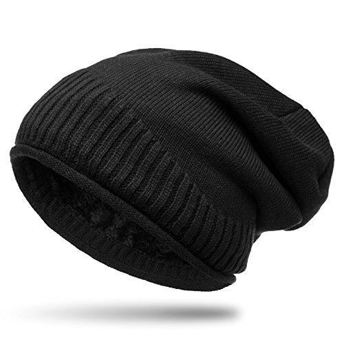 Fleece Snowboard Beanie (CASPAR MU180 dicke warme Feinstrick Beanie Mütze mit weichem Fleece Gefüttert, Farbe:schwarz;Größe:One Size)