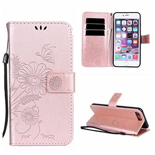 iPhone 7 Plus Coque, Voguecase Étui en cuir synthétique chic avec fonction support pratique pour Apple iPhone 7 Plus 5.5 (Fleurs et papillon II-Gris)de Gratuit stylet l'écran aléatoire universelle Fleurs et papillon II-Rose d'or