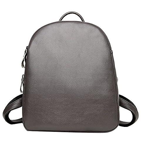 Dame Casual Pu Leder Rucksack College Laptop Umhängetasche Handtasche Für Frauen Mehrfarbig,Grey-M