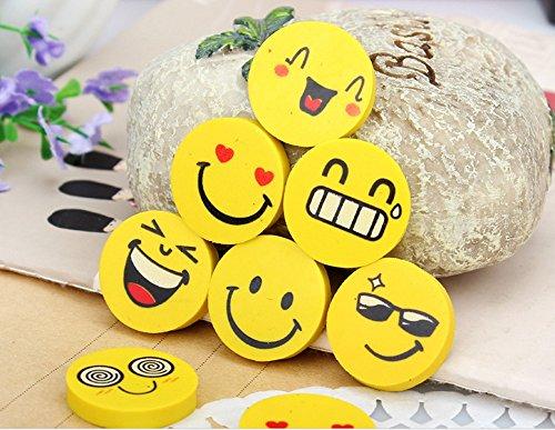 SYOO 48 Stücke Emoji Smiley Radiergummi Set, Mitbringsel Geschenk für Geburtstag Kinderparty Danksagung Weihnachten Garten Party