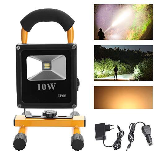 HD2014 Hengda® 10W Warmweiß LED Akku Fluter Aussen Strahler IP65 handlampe Tragbare Wiederaufladbare Camping Lampe Außenleuchten