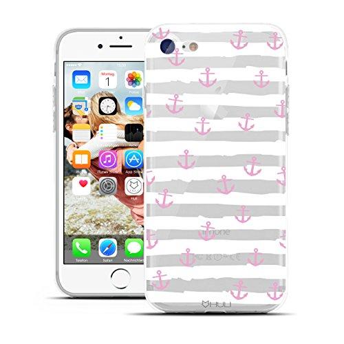 HULI Design Case Hülle für Apple iPhone 7 Handy im rosa Anker Design - Handyhülle aus TPU Silikon - Schutzhülle klar im maritim Muster Kreuzfahrt Anchor - Transparent und Slim für Dein Smartphone