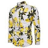 VEMOW Herbst Sommer Mid-Season Herrenhemd Gedruckt Slim Fit Langarm Casual Täglichen Party Strand Business Button Shirts Formale Top Bluse(Weiß, EU-56/CN-3XL)