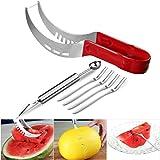 OUNONA 6tlg Wassermelonen Messer Gabel Obstmesser Melonenschneider Melonenmesser Entkerner Ausstecher Melonenausstecher