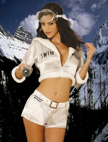Twin Peaks Skipatrol Sexy Halloween-Kostüm für Mädchen Medium weiß (Ski Patrol Kostüm)