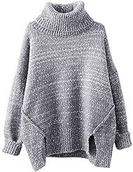 YOUJIA Femme Manches Longues Tricots Chandails Col Roulé Pulls Asymétrique Tops Épais Sweater Jumpers