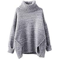 0315cb3f4ae3 YOUJIA Damen Turtleneck Pulli Dick Strickpullover Elegant Winter Oberteil  Asymmetrisch Gestrickt Sweater