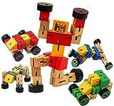 Toys of Wood Oxford BLU in legno robot trasformatori -giocattolo di trasfigurare in figure animali, auto e sport - in legno costruzione giocattoli per bambini