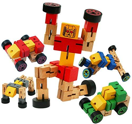 Toys of Wood Oxford ROJO Robot de madera de transformador - Transformers juguete para transfigurar en animales, automóviles y figuras deportivas - Construcción juegetes de madera para niños