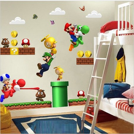 NEU Super Mario Bros Entfernbare Wandaufkleber Aufkleber Kinder Wohnkultur