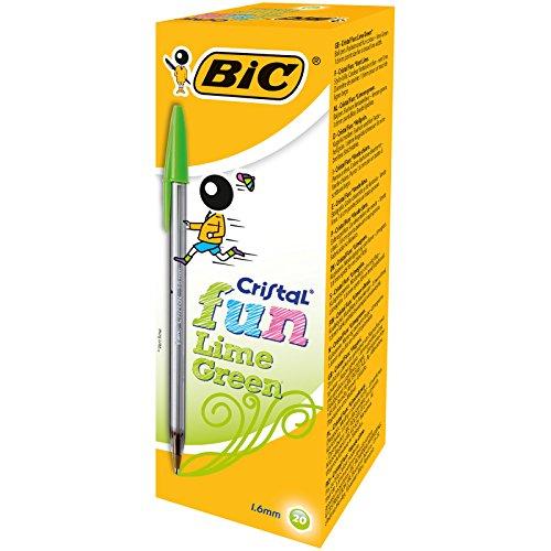 BIC Cristal Fun bolígrafos Punta Ancha (1,6 mm) - Verde Lima, Caja de 20 unidades