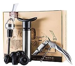 Idea Regalo - DBR-DTT Vacu Vin Pompa Salvavino 4 Tappi Sottovuoto Bottiglie Accessori Vino Idea Regalo Set Vino Salvagoccia Vino Pompetta Vacuum Tappi Salvavino Cavatappi Acciaio Inox Apribottiglie Professionale