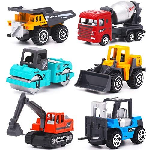 YIMORE Vehicules de Chantier 6 pcs Jouet Camion Voiture Véhicule de Construction Noël Anniversaire Cadeau pour Enfant Garcon Fille 3 4 5 Ans