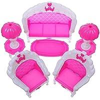Preisvergleich für 6 Stücke Schlafzimmer Möbel Set Sofa Stuhl Lampe Tee Tisch für 1/6 Barbie Puppen Haus Spielzeug Weihnachtsgeschenke