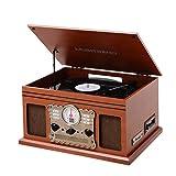 MUSITREND Nostalgie Retro Kompaktanlage Plattenspieler mit FM/AM Radio, USB/CD Input, Bluetooth, Beleuchtetes LCD Display, MP3 Encoding Aufnahmefunktion, Natürlichem Holz