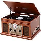 Platine Vinyle Bluetooth USB MP3, ChaîNe Hifi Avec Platine Vinyle, Lecteur Cassette, CD Et USB Pour Lecture MP3 - Bois Marron