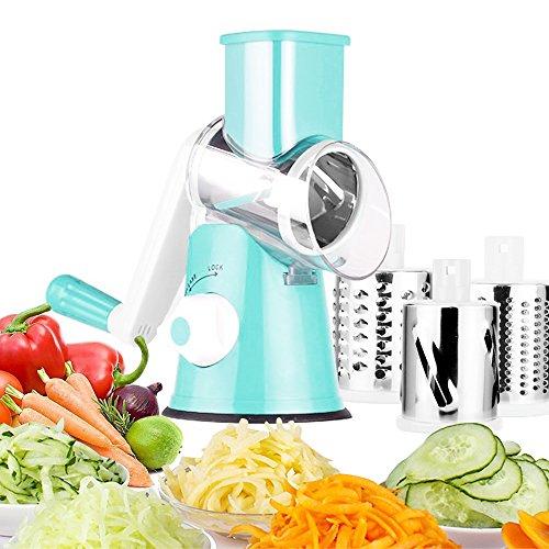 Türkis Lagerung Behälter (Oakome Gemüsehobel, Spiralschneider, Multischneider, Handbetriebener Gemüsereibe, mit 3 zylindrischen Edelstahlklingen zum Mahlen, Schneiden von Seide, Schneiden)
