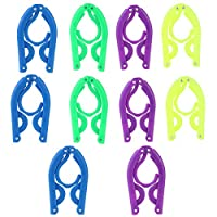 TinkSky 10pcs Portable Travel Folding Plastic Clothes Coat Hangers Racks (Random Color)