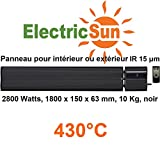 2800W electricsun schwarz mit integriertem Thermostat mit Fernbedienung Micathermische zu Infrarot, elektrische Heizung für Innen oder Außen