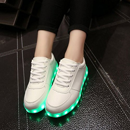 [Present:kleines Handtuch]JUNGLEST® 7 Farbe Lackleder High Top USB Aufladen LED Leuchtend Sport Schuhe Sportschuhe Sneaker Turnschuhe für Unisex-Erwachsene H Weiß