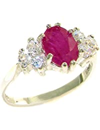 14ct White Gold Womens Ruby & 0.36ct 1/3ct Diamond Ring