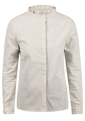 Stretch-streifen-polo-tee (BlendShe Stella Damen Lange Bluse Hemdbluse Langarm Mit Stehkragen Und Streifen-Muster Aus 100% Baumwolle Loose Fit, Größe:XL, Farbe:Opal Gray Stripe (20058))
