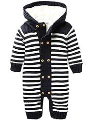 Y-BOA Bébé Combinaison Pyjama à Capuche Rompers Rayure Tricot Velours Épais Chaud Hiver