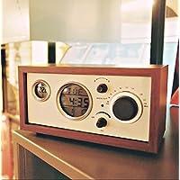 Creative luminoso classico in legno di antiquariato retrò radio orologio da tavolo legno sveglia radio ,rosso