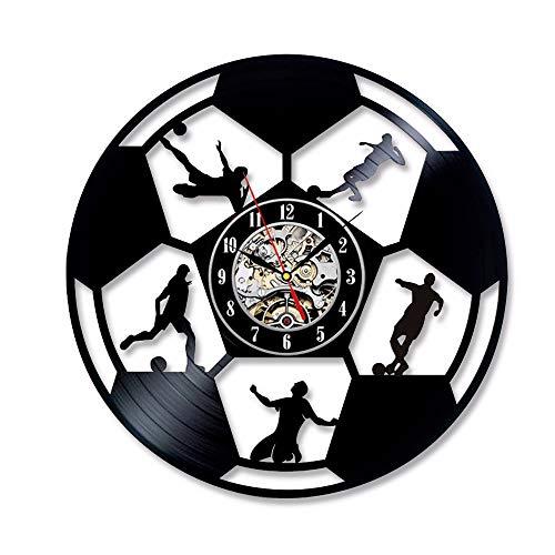 ign Fußball Wanduhr Kinderzimmer Wanduhr Schwarz Quarz Dekoration 12 Zoll ()