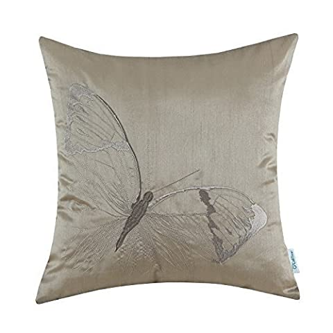 CaliTime Cushion Cover Faux Silk Vivid Butterfly Embroidered Taupe 45cm X 45cm